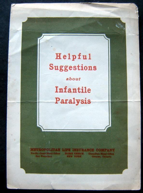 1924 Helpful Suggestions Infantile Paralysis Booklet Metropolitan Life Insurance