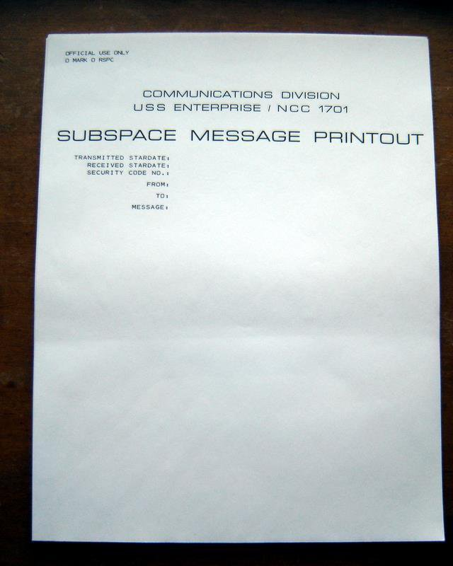 Star Trek Subspace Message Printout Stationary 20 Sheets and Envelopes