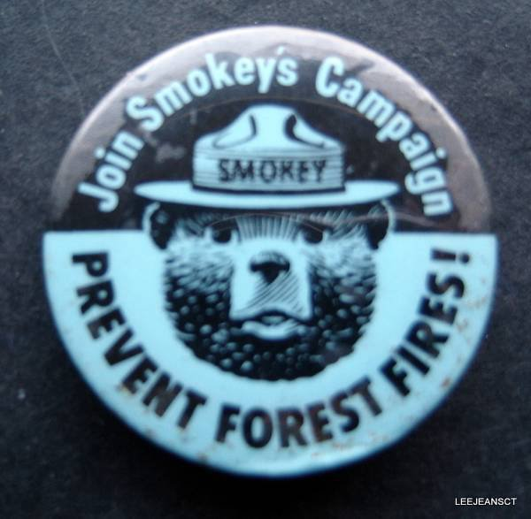 "Join Smokey's Campaign Prevent Forest Fires! PIN 1 1/2"" Round"
