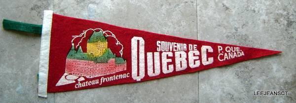 "Vintage Chateau Frontenac Quebec City Canada Souvenir Red Pennant 20"" x 7"""
