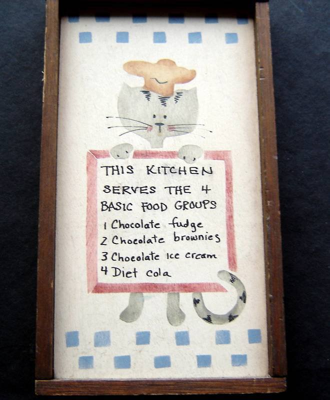 """This Kitchen Serves the 4 Basic Food Groups Cat Humorous Sign Plaque 4"""" by 7"""""""