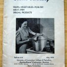 Home Canning Booklet # 419 UCONN College of Agriculture May 1950 Meat Veges etc