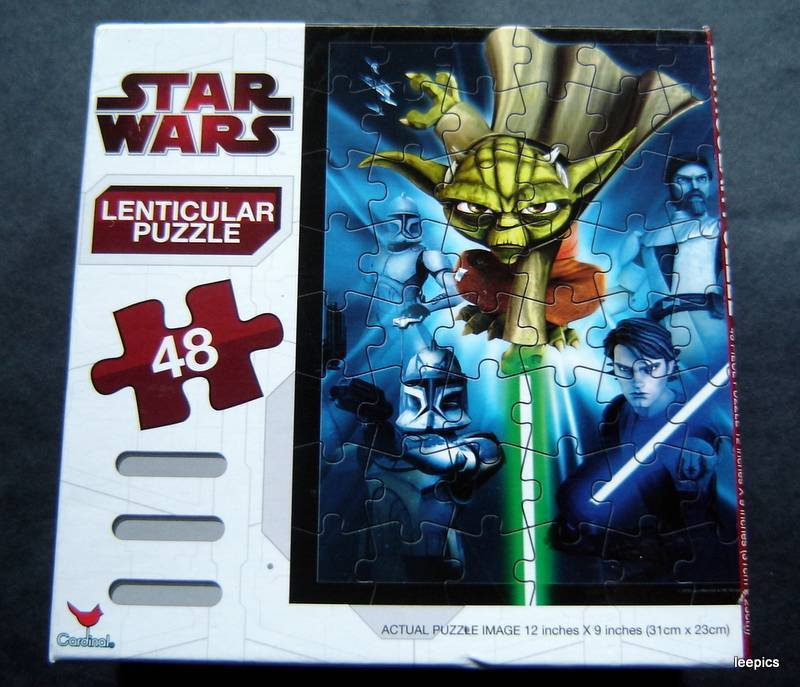"""Star Wars Clone Wars Lenticular Puzzle 48 Pieces 9"""" by 12"""" Sealed 2010 Complete"""