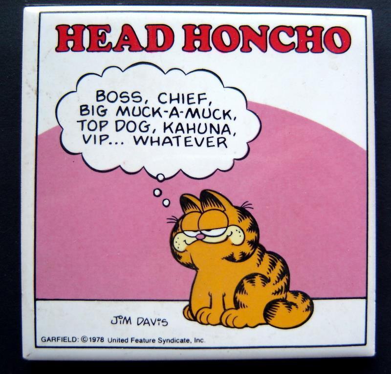 Garfield the Cat Tile Plaque Head Honcho Jim Davis by Enesco