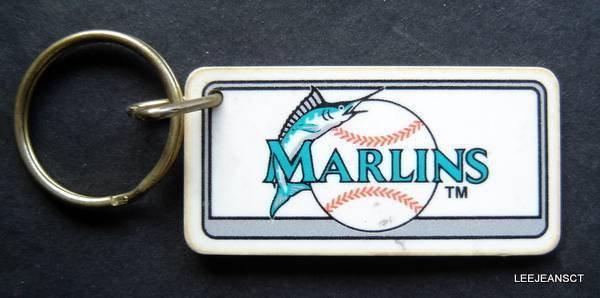 "Florida Marlins Plastic Key Chain Tag Express MLB 1995 2 1/4"""