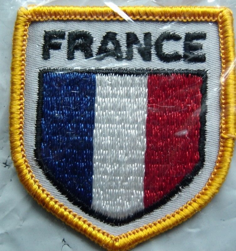 "France Flag Shield Crest Cloth Sew On PATCH 2"" by 2"""