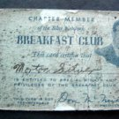 Breakfast Club with Don McNeill Membership Card from Old Radio Program