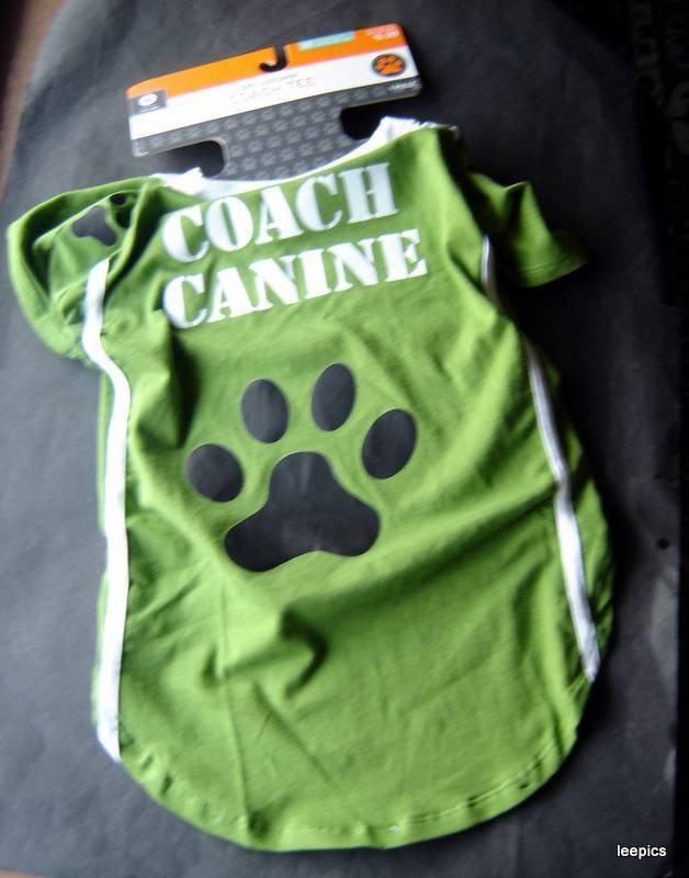 Coach Canine Green Dog Tee Shirt Pet Costume Medium Fits Up to 50 lbs 1 Piece