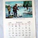 Vintage complete 1988 Currier & Ives Calendar Lithos Travelers Ins Hartford Ct
