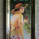 Drink Coca Cola Gold Metal Tray Young Girl in Hat with Roses Design 1972 USA