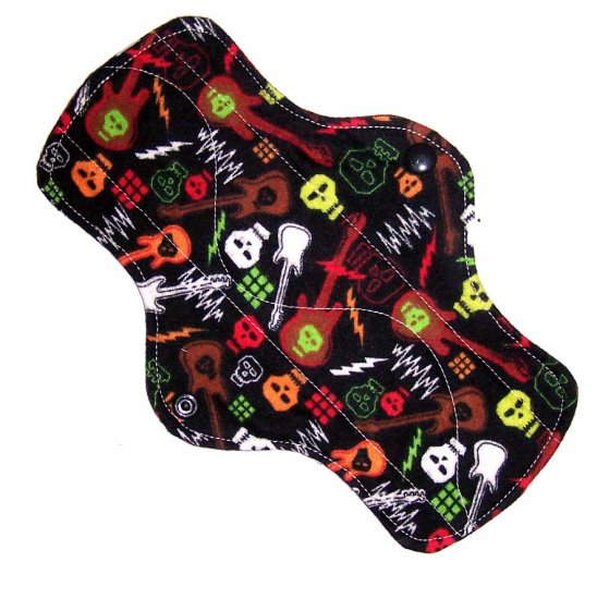 "Cloth Pantyliner 9"" Hard Rock Skulls"