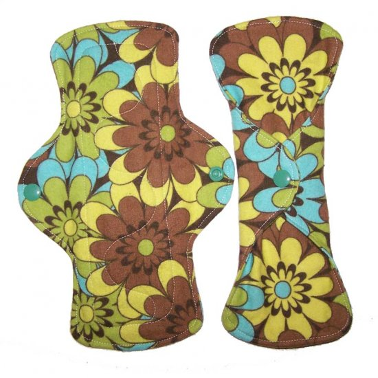 Cloth Menstrual Set of Pad and Liner Brown Floral