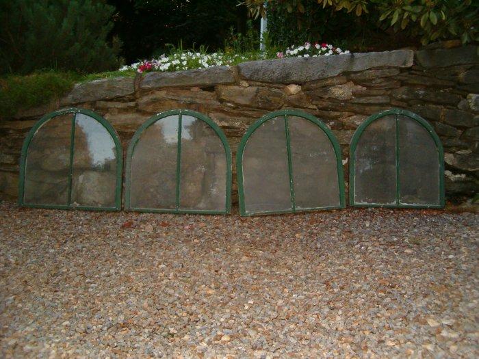 4 OLD ANTIQUE GREEN ROUND TOP WINDOWS