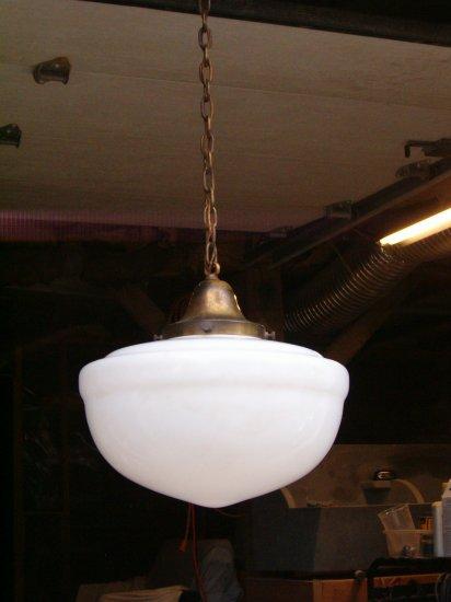 Brass Cieling Lamp with Milk Glass Globe