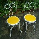 2 Antique Vintage Iron Ice Cream Chairs