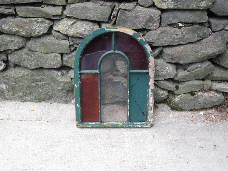 Vintage Wood Round Top Window