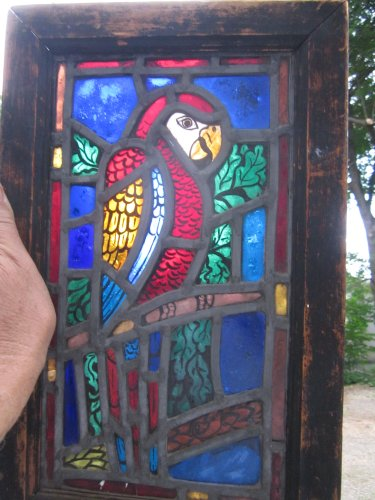 Stained Glass Frame Of Parrot  Sun Catcher