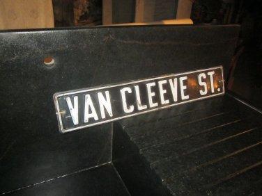 Vintage Metal Stamped Street Sign  Van Cleeve St.