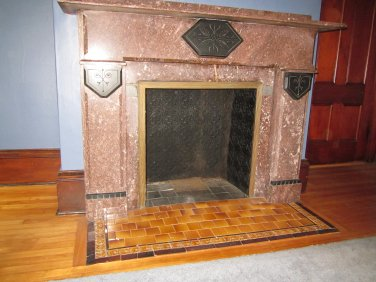 Antique Red Marble Fire Place with Cast Iron surround      I. 4