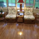 Heyward Wakefield Vintage Rattan Sofa Set W/Side Chairs & Accompanying tables