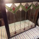 Antique Stained Glass Window with Flower Design
