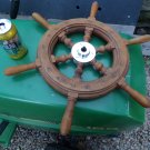 Vintage Wood Mahogany Ships Wheel