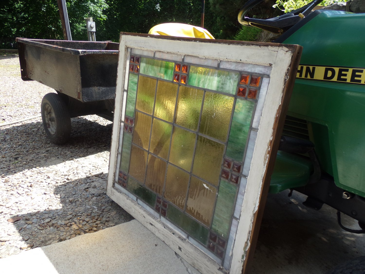 Antique Stained glass window in Arts & Crafts Style