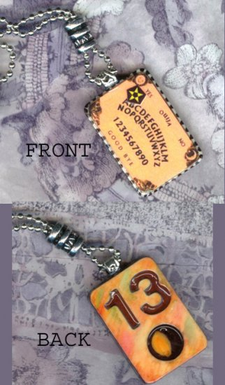 OUIJA BOARD ALTERED ART PENDANT NECKLACE HANDMADE