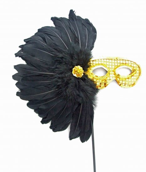 Aztec Princess Wand Mardi Gras Costume Feather Mask