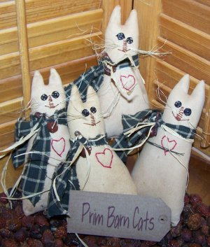 "PriMiTiVe Ole' Barn Cats Bowl Fillers Ornies Tucks Tag ""Prim Barn Cats"""