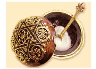 Ornate Judaic Salt holder with spoon - Brown
