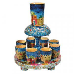 Hand-painted wooden Kidush Fountain by: Yair Emanuel