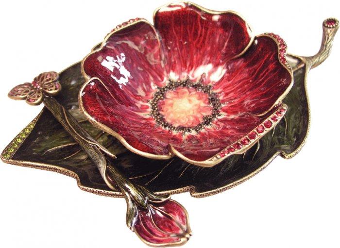 Red Flower Designer Honey Dish