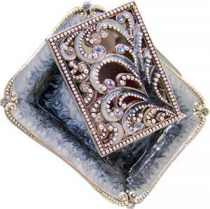 Ornate Shabbat Matchbox Set  with Swarovsky Crystals- Blue