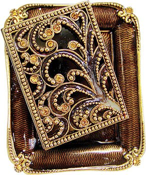 Ornate Shabbat Matchbox Set with Swarovsky Crystals - Gold / Brown