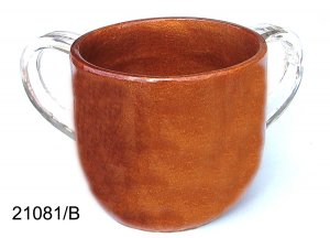 Polyresin Washcup, Caramel With Clear Handles, By Ronit Akavia