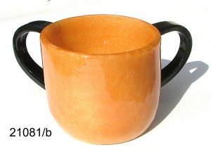 Polyresin Washcup, Gold With Black Handles, By Ronit Akavia