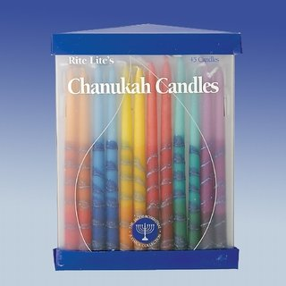 Hand Decorated Rainbow Hanukah Candles