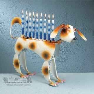 Muttel the Dog Hanukah Menorah - Hand Painted Metal