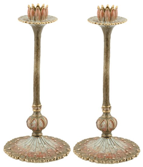 Bridal Lotus Flower Candlesticks 8""