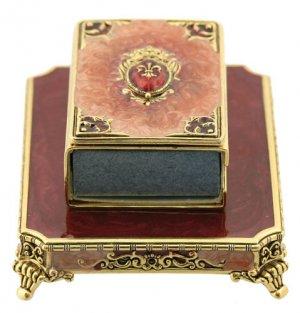 Rust and Gold Fleur-de-Lis Mini Designer Matchbox Set. By Quest Judaic Designer Gifts