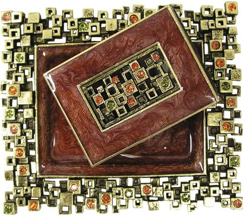 Modular Squares, Rust and Brass, Designer Shabbat Matchbox Set. By Quest Designer Judaica