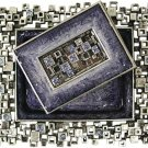 Modular Squares, Blue and Silver, Designer Shabbat Matchbox Set. By Quest Designer Judaica