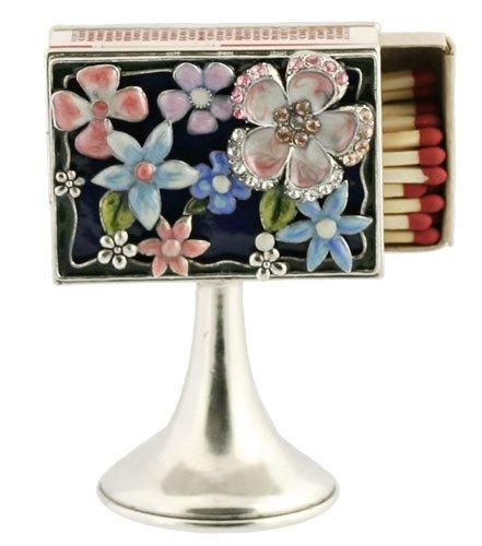 Beautiful Floral Shabbat Mini Matchbox on Stand with Swarovski Crystals. By Quest Designer Judaica