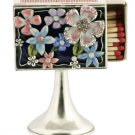 Beautiful Floral Shabbat Mini Matchbox on Stand with Swarovski Crystals. By Quest Designer Judaica