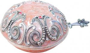 Scroll Style Salt Dish, With spoon and Cover: PInk and Silver Color