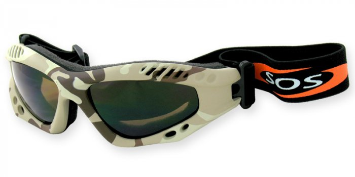 Desert Shield - Sand Camouflage w/2.00MM Polycarbonate Brown-Anti Fog Lenses