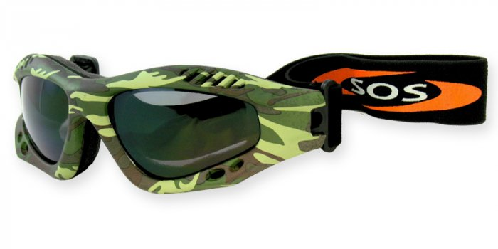 Desert Shield - Green/Brown Camouflage w/2.00MM Polycarbonate Smoke-Anti Fog Lenses