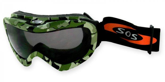 Desert Storm - Green/Brown Camouflage/2.00MM Polycarbonate Smoke-Anti Fog Lenses