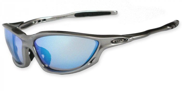 Evolution - Silver Silver w/PC DeCenter Blue XLT Lenses + Tech Kit